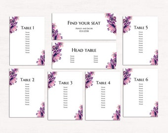 Floral wedding seating chart template Purple seating plan diy Romantic table plan printable Watercolor flowers seating chart download 1W63