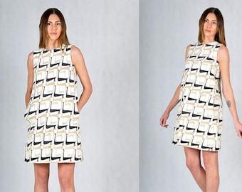 60s Swan Print Vintage Mini Mod Dress