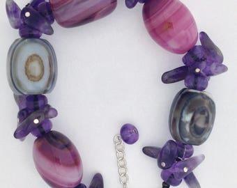 Natural Stones Bracelet 925 Sterling Silver