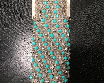 Beaded Italian 60s mid century eye glass case silver and turquoise beads