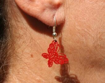 Red butterfly earrings