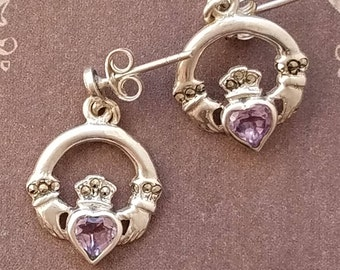 Unique Claddagh Amethyst Earrings, Vintage Claddagh Marcasite Sterling Silver Earrings, Claddagh Earrings, Amethyst Birthstone Earrings