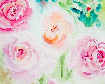 Watercolor Abstract Roses Original Painting Artwork by AliiArtColors