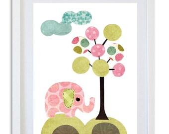 nursery Art, Nursery decor, elephant art print, kids room art, wall art, baby nursery -  girl elephant