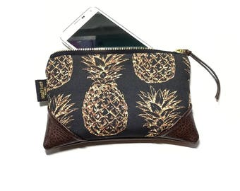Mini Black Glittery Pineapple Zipper Pouch / Clutch with inside lining and Zipper Pull or Leather Wristlet Strap