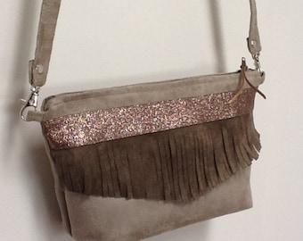Pochette evening bag with sequins and fringes, removable shoulder strap / ethnic purse, fringes / mother's day / wedding bag / customizable