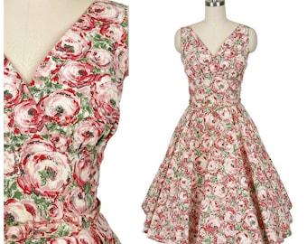 Beautiful Pink Rose Print 1950's Full Circle Skirt Printed Dress