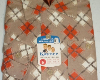 NOS / 1950s Shirt / Argyle / Kids / Cotton Flannel / Rockabilly / Loop Collar / New Old Stock / Deadstock / Atomic / Boys / Size 6 / Vintage