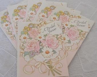 Vintage Bridal Shower Invitations Cards set of 6 palest pink Floral Bouquet 80s Invitations Floral unused