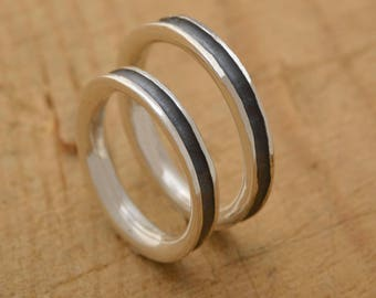 His and Her Wedding Bands, Sterling Silver Wedding Band Set, 3.5mm Wide, Unique Bridal Set, BE100