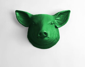 The Hamlet - Kelly Faux Pig Head - Farmhouse Wall Decor - Pig Decor - Kitchen Decor - Faux Taxidermy - Pig Sculpture - Farm Animal Decor