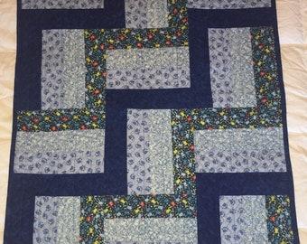 Blue Rail Fence Baby Blanket Quilt Kit