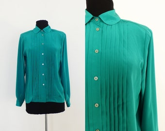 1980s Womens Kelly Green Long Sleeve Blouse