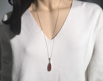 Raw Ruby Necklace ,Sterling Silver Necklace , Raw Ruby Stone,Hand cut Stone, My Handmade Necklace,  Red Necklace