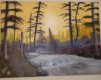 "Bob Ross Style ""Deep Woods"" Oil Painting on 18x24 Stretched Canvas"