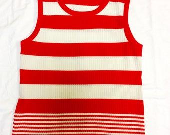 Vintage Red / White Stripe Knit Tank Top