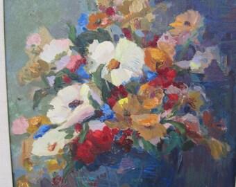 Öl auf Platte Mid Century Blumenstillleben von aufgeführten Künstler leuchtend bunten Blues, rot, gelb und weiß