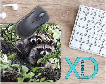 Raccoon Mouse Pad, Raccoon Mousepad, Wild Rectangle Mouse Pad, Green, Gray, WIld Circle Mouse Pad, Raccoon Mat, Computer, Animal, Branches