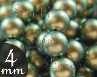 4mm Iridescent Green swarovski pearl beads style 5810 (25)