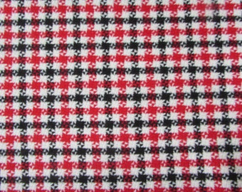 Wool Houndstooth Fabric, Red, White, Black, 1pc -  60in wide x 3 1/3 yards (120in)