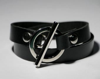 Black Leather Bracelet Wrap Bracelet Leather Cuff  with Toggle Clasp