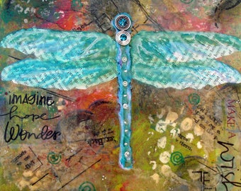 DRAGONFLY, Change, Animal Totem, Art, Garden, Nature, Bohemian Wall Decor, Gypsy Art, Free Spirit Art, Turquoise, Green, Alicia Hayes Art
