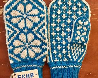 Norwegian Knit Mittens, Blue and White