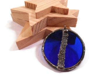 Stained Glass Jewelry Blue Glass Jewelry Handmade  Glass and Metal Jewelry Stained Glass Pendant  Round Glass Necklace Blue Glass Pendant