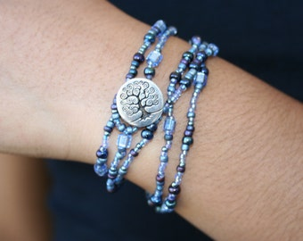Blue and Purple Layering Necklace or Bracelet