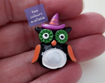 Owl flatback cabochon craft supplies embellishment novelty flatback cute bird flatback owl in hat flatback resin flatback coloured owl FB036