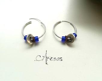 Silver Hoops - Blue Silver Earings - Hoops and Cristals - Hoops Earrings - Hoop Earring with Color Glass - Boho Hoops