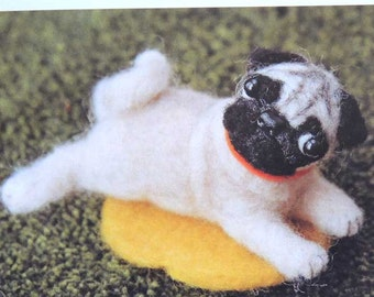 Needle wool felt Pug KIT DIY