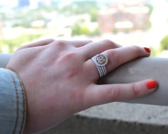 Monogrammed Sterling Silver Quad Stackable CZ Rings