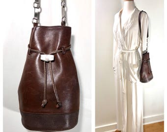 Marc Cross Bag / Brown Leather Bag Drawstring Bag Chain Strap Bag Unique Leather Bag 90s Leather Bag Brown Handbag Medium Bag Bucket Bag