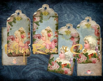 TAG & POCKET ENVELOPE Marie Antoinette Era Roses French Court Gift Party Favor Vintage Craft Scrapbooking Digital Download Decoupage Collage