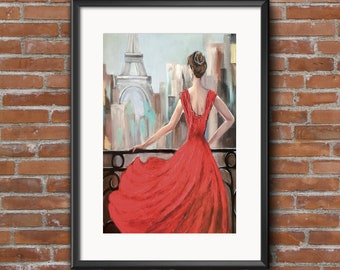 Fine Art Print of Mixed Media Painting, Contemporary Paris Woman with Eiffel Tower in red dress, Large Format Print