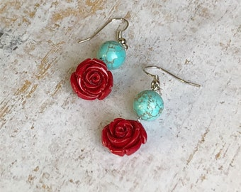 Crimson Red Rose & Turquoise Glass Beads