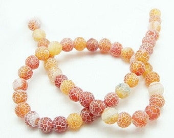 50 cracked orange dragon vein agate beads