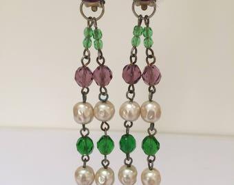Original 1990s Erickson Beamon styleclip on drop earrings