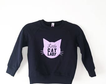 Little Cat Lady Size 4 Kids Navy Sweatshirt - Family Photos, Meow, Expecting, Matching, Mommy and Me, Cute Girl Gift, Kitty Cat