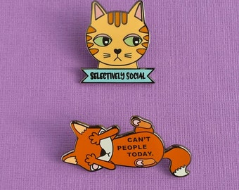 The Introverts' Pin Set - Cat pin, Fox Pin, Cat gifts, cat enamel pin, Gifts for her, Cat jewelry