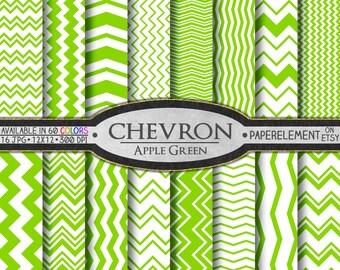 Apple Green Chevron Digital Paper Pack - Instant Download - Digital Scrapbook Paper with Chevron Background