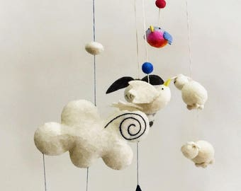 Felt Mobile, Spring Time Mobile, Children's Nursery Mobile