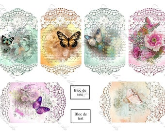 Board of transfers 6 images (6 x 11 cm each) Butterfly lace themed