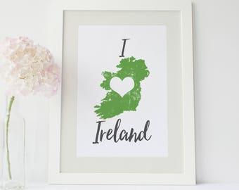 Map of Ireland print - Irish wall art map poster mapping art print - Ireland map art typography mapping poster