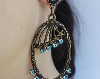 Earring Oval star Swarovski Crystal