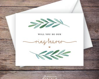 Printable Will You Be Our Ring Bearer Card, Greenery, Instant Download Greeting Card, Wedding Card – Waverly