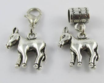Cute Donkey Charm Select European Charm or Clip on
