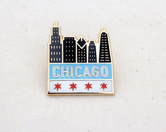 Chicago Skyline Enamel Pin - Lapel Pin - Badge