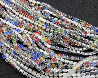 CHAIN silver thin 2mm with crystals varied colours CHAIN 50 cm